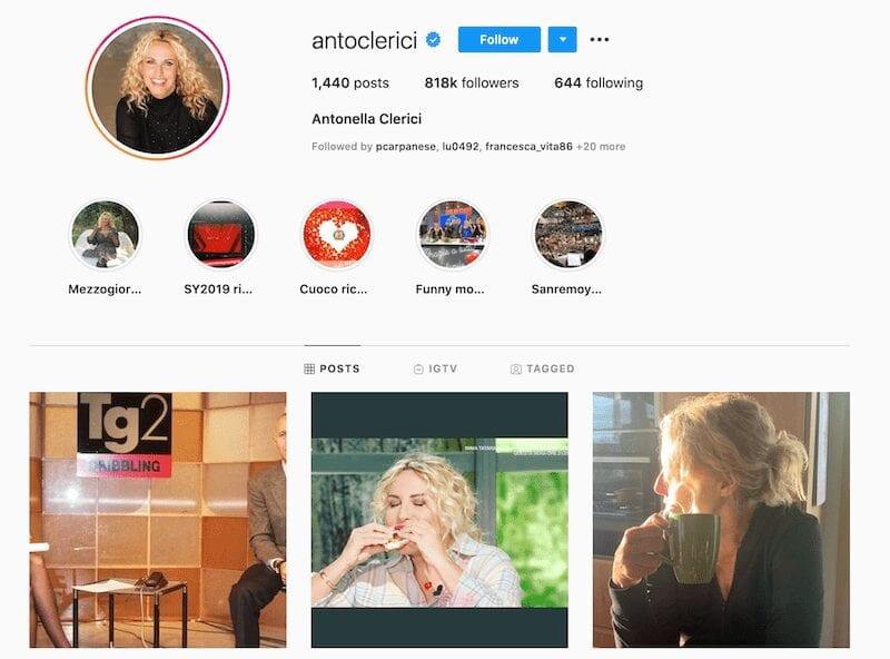 Antonella Clerici Instagram, la vip si racconta