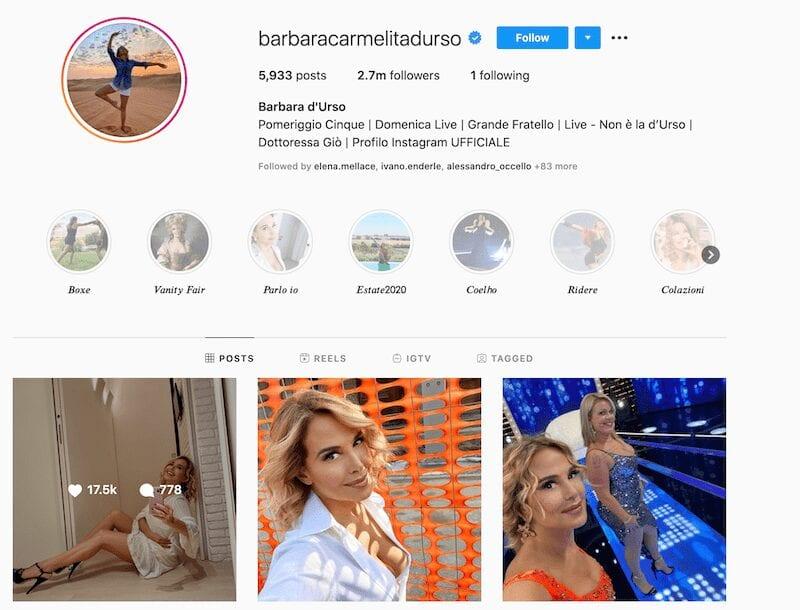 Barbara d'urso Instagram, un profilo...