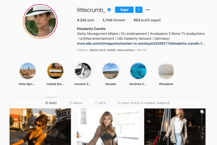 instagram Elisabetta Canalis