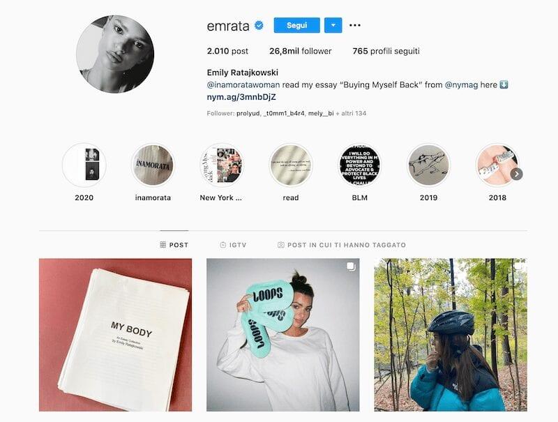 Emily Ratajkowski Instagram: il volto sexy del social
