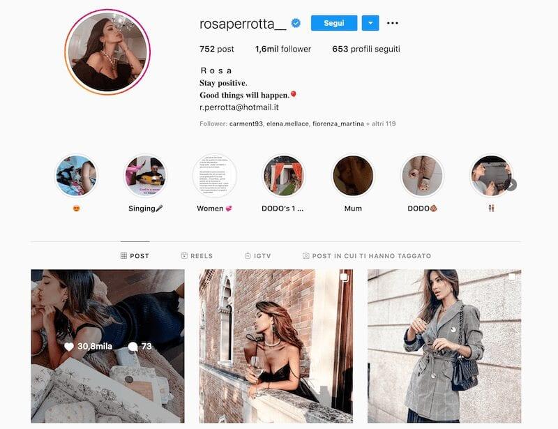 Una vita nel profilo di Rosa Perrotta Instagram