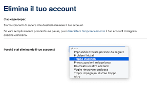 come si elimina del tutto un account instagram1
