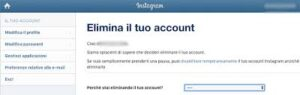 come si fa a elimina un account instagram