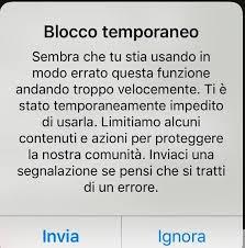 azione bloccata instagram like